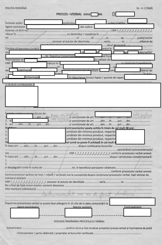 Proces verbal Politia Romana Analiza de risc